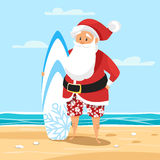 Vector cartoon style illustration of Santa surfer. Royalty Free Stock Photography