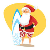 Vector cartoon style illustration of Santa surfer. Stock Image