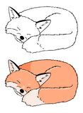 Vector cartoon style illustration of sleeping fox. Icon for web, Isolated on white background. Hand drawn vector of sleeping. Animal. Good for coloring book for stock illustration