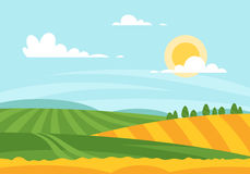 Vector cartoon style illustration of wheat field in a daytime. Stock Photo