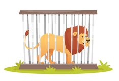 Lion in cage. Vector cartoon style illustration of wild lion in cage isolated on white background royalty free illustration