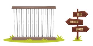 Zoo cage with wooden signpost. Vector cartoon style illustration of zoo cage with wooden signpost,  on white background Royalty Free Stock Images