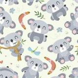 Vector cartoon style koala seamless pattern vector illustration