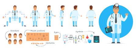 Doctor character generator. Vector cartoon style man doctor character generator. Different emotions, mouth positions and hand gestures. Medical icons. Isolated Stock Photo