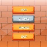 Vector cartoon style orange stone buttons vector illustration