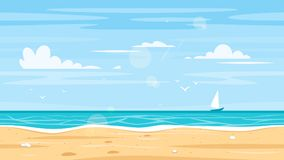 Seamless landscape with sea shore stock illustration