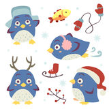Vector cartoon style penguin set Stock Photography