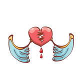 Vector cartoon style red broken heart Royalty Free Stock Photo