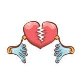 Vector cartoon style red broken heart Stock Photos
