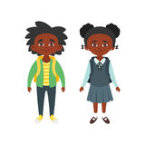 Boy and girl in school uniform. Vector cartoon style school characters: Afro American boy and girl in school uniform. Isolated on white background Royalty Free Stock Photo