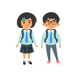 Boy and girl in school uniform. Vector cartoon style school characters: black hair boy and girl in school uniform. Isolated on white background Royalty Free Stock Photography