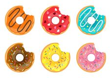 Set of bitten doughnuts. Vector cartoon style set of bitten doughnuts. Colorful snack. Isolated on white background Stock Images