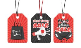 Black Friday tags. Vector cartoon style set of black Friday tags with sale symbols: shopping bag, loudspeaker and black balloons Royalty Free Stock Photos