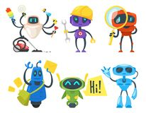 Set of different robots. Vector cartoon style set of different robots. Different activities and professions. Isolated on white background Stock Images