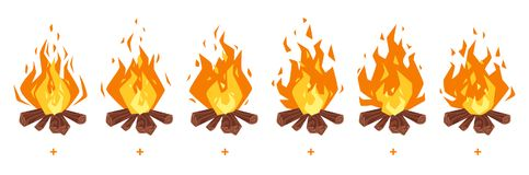 Camp fire sprites for animation. Vector cartoon style set of game camp fire sprites for animation. Game user interface GUI element for video games, computer or Stock Photography