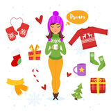 Vector cartoon style set of holiday items. Icon for web. Isolated on white background. Greeting card template. Christmas presents Royalty Free Stock Photo