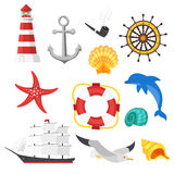 Vector cartoon style set of sea objects. Icon for web. Isolated on white background Royalty Free Stock Image