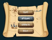 Vector cartoon style stone enabled and disabled buttons with text for game design on treasure map scroll background. Illustration of interface pirate game Royalty Free Stock Photos
