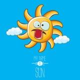 Vector funky cartoon style summer sun character on blue sky background. My name is sun concept illustration. funky kids. Vector cartoon style summer sun royalty free illustration