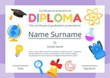 Kids diploma certificate for preschool. Vector cartoon style template layout for kids diploma certificate for kindergarten, school or preschool with educational vector illustration