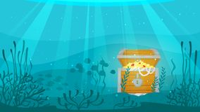 Open chest full of gold. Vector cartoon style underwater background with sea flora and fauna. Coral reef, sea plants and fishes silhouettes. Open treasure chest Stock Photography