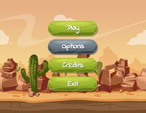 Vector cartoon style wavy enabled and disabled buttons with text for game design on orange rocks, sky and cactus desert. Landscape background. Button panel for royalty free illustration