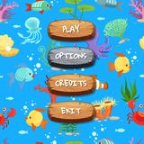 Vector cartoon style wooden enabled and disabled buttons with text for game design on sealife texture background. Illustration of wood gui play menu stock illustration