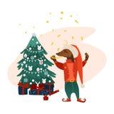 Vector dog character near christmas tree Stock Photo