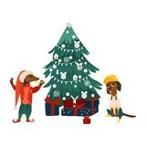 Vector dogs characters near christmas tree. Vector cartoon stylized humanized dachshund dog characters near decorated christmas tree with presents. Animal in Royalty Free Stock Photo