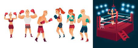 Vector flat male female boxing athletes, ring set. Vector cartoon stylized men women in different poses with boxing gloves ready to fight and red illuminated Royalty Free Stock Photo