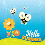 Vector cartoon summer landscape with Honey bees Royalty Free Stock Photography