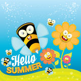 Vector cartoon summer landscape with Honey bees Stock Photos