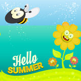 Vector cartoon summer landscape with Honey bees Stock Images