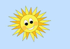 Vector cartoon sun on blue sky Stock Images