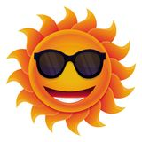 Vector cartoon sun. With circle face and hipster sunglasses royalty free illustration