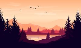 Vector cartoon sunset landscape with orange sky, silhouettes of. Mountains, hills and trees and lake royalty free illustration