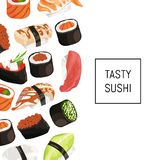 Vector cartoon sushi types background with place for text. Japanese food sushi banner and poster illustration Royalty Free Stock Photo