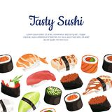 Vector cartoon sushi types background. With place for text illustration Royalty Free Stock Photography