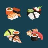 Vector cartoon sushi types piles set. Rice and fish, restaurant menu illustration Stock Photography