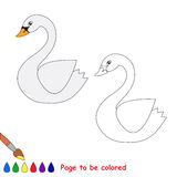 Vector cartoon swan to be colored. Royalty Free Stock Photography