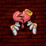 Vector cartoon tattoo style red broken heart Stock Photos