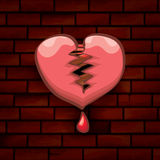 Vector cartoon tattoo style red broken heart Stock Photography