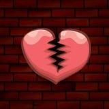 Vector cartoon tattoo style red broken heart Royalty Free Stock Photo
