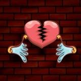 Vector cartoon tattoo style red broken heart Royalty Free Stock Image