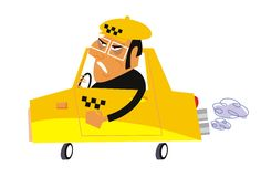 Vector cartoon taxi Stock Photo