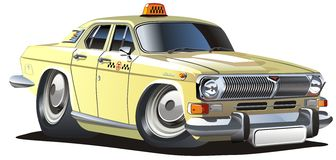 Vector cartoon taxi. Vector detailed illustration retro cartoon taxi car isolated on white background Royalty Free Stock Photography