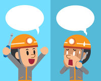 Vector cartoon a technician expressing different emotions with speech bubbles. For design Royalty Free Stock Image