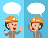 Vector cartoon technician expressing different emotions with speech bubbles. For design Stock Image