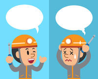 Vector cartoon technician expressing different emotions with speech bubbles. For design Stock Photo