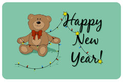 Vector cartoon Teddy bear with the christmas tree garland and the Happy New Year phrase. Royalty Free Stock Image